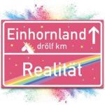 Einhorn Schild, rosa Ortsschild
