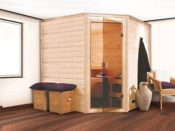 Massivholz Sauna Eckmodell