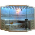 Große Sauna aus heller Pinie