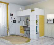 Hochbett mit Kleiderschrank & Schreibtisch